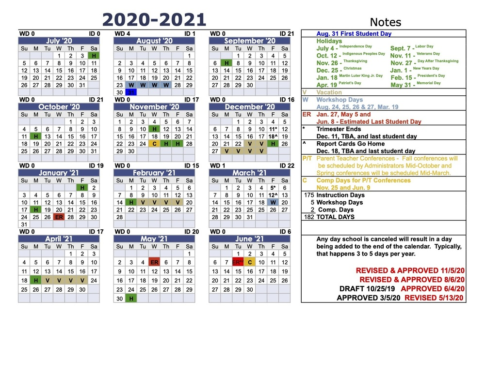 Updated 2020-2021 School Calendar (11/05/20)